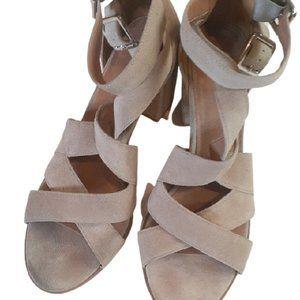 BP Suede Grey Block Heel Strappy Sandals 10M